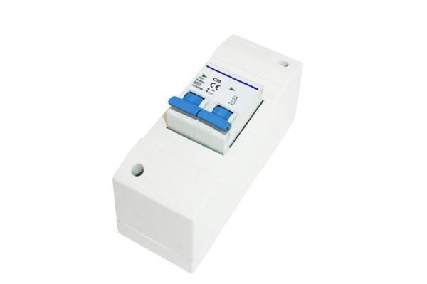 Installatiekast 2-module + dbp zekering 10Amp. verpakt