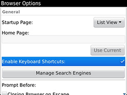How to use BlackBerry browser keyboard shortcuts