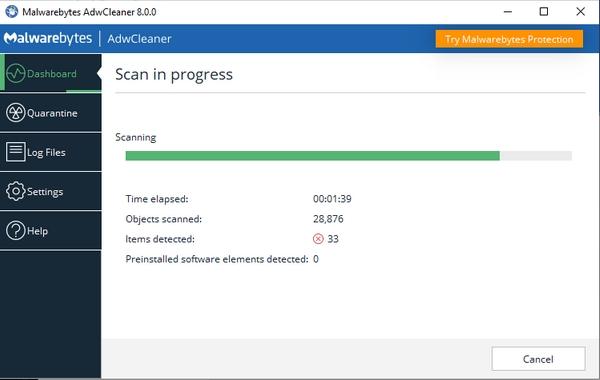 Malwarebytes ADWCleaner, scanning