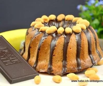 Bananen Kuchen mit Erdnussbutter und Schokolade