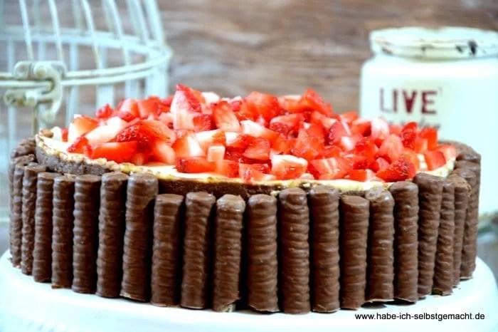 No Bake Erdbeer Schokoladen Torte