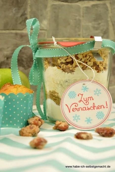 Backmischung für Apfel Muffins mit gebrannten Mandeln