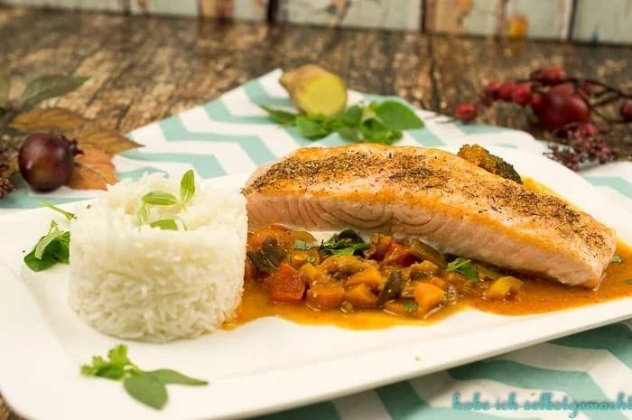 Rotes Fisch Gemüse Thaicurry