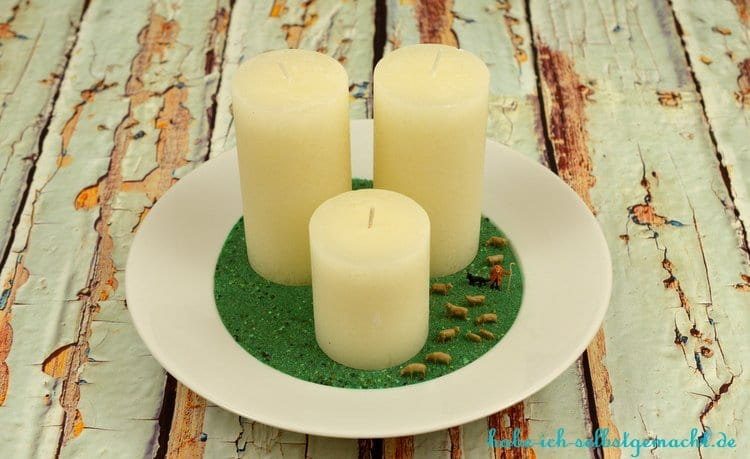 Selbstgemachte Kerzenschale