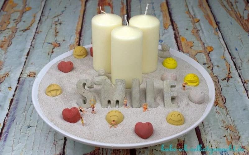 Fertige Selbstgemachte Kerzenschale hyggelig Smile
