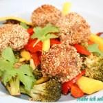 Asiatische Gemüsepfanne mit Sesam Hackbällchen