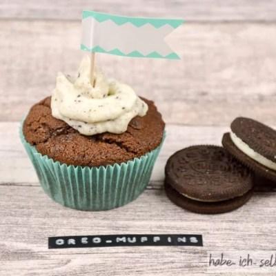Saftige Oreo Muffins (auch als Backmischung im Glas) mit Etikett zum Ausdruck