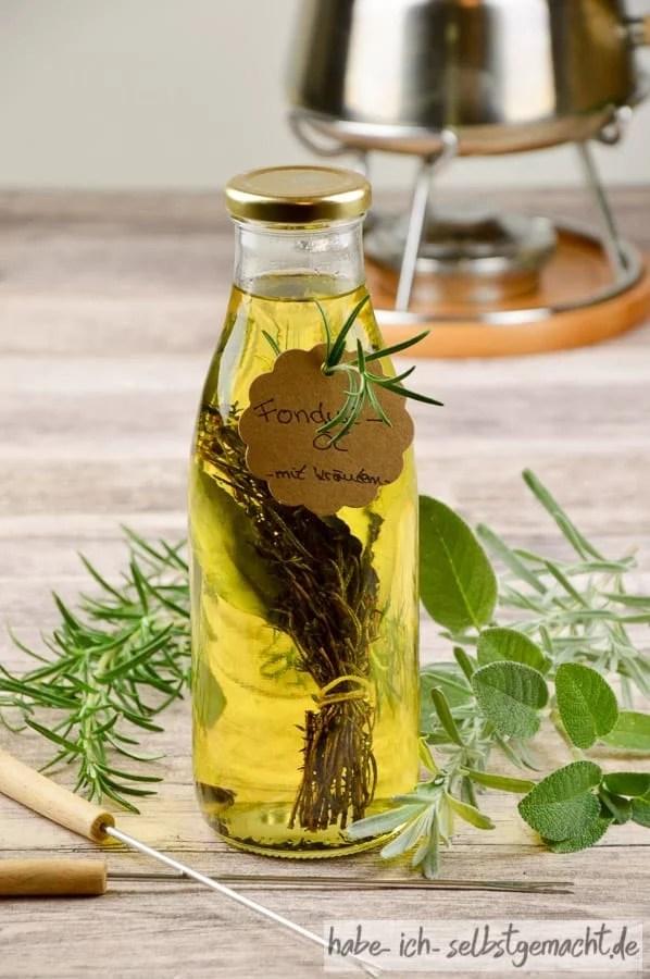 Fondue-Öl mit Kräutern
