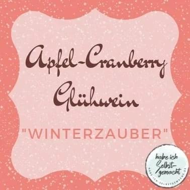 Etikett für einen Apfel-Cranberry Glühwein