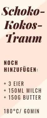 """Etikett für Backmischung """"Schoko-Kokos-Traum"""""""
