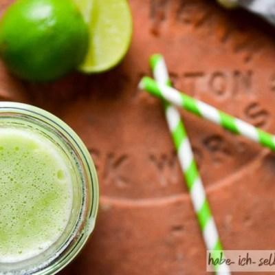 Selbstgemachter Saft Melone Limette Orange Gurke Ingwer Rezept 1