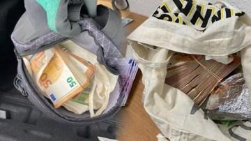 Sırt çantasında 244 bin euro yakalandı