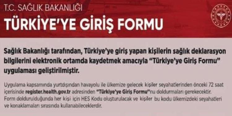 Türkiye'ye girişte form zorunluluğu 15 Mart'ta başlıyor