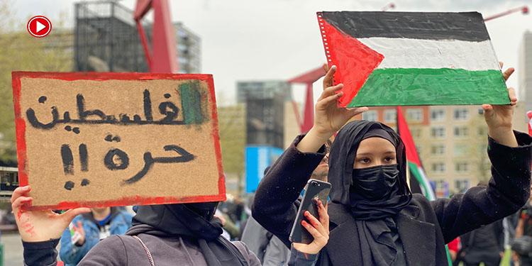 Hollanda'da İsrail'in Filistinlilere yönelik saldırıları protesto edildi (VİDEO)