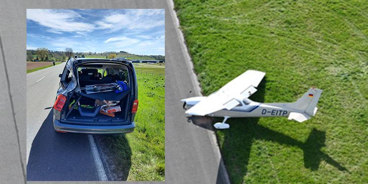 Uçak otomobile çarptı