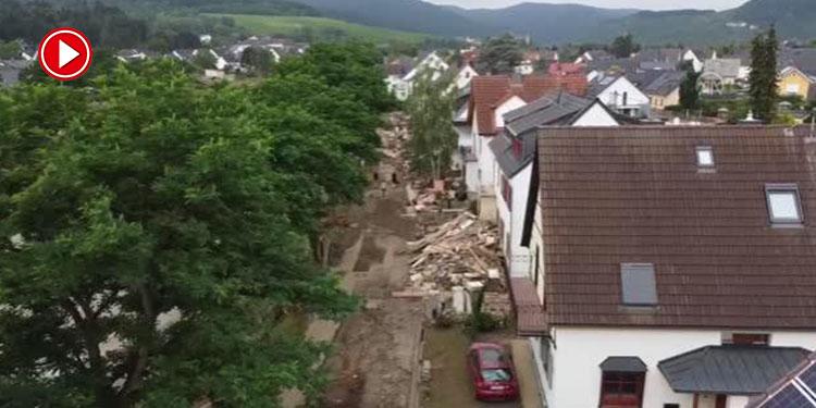Selden en çok etkilenen Ahrweiler kenti havadan görüntülendi (VİDEO)