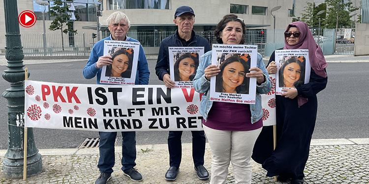 Almanya'da kızı terör örgütü PKK tarafından kaçırılan anne, Başbakanlık önündeki eylemini sürdürdü (VİDEO)