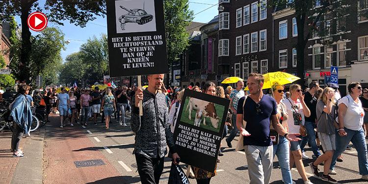 Hollanda'da binlerce gösterici aşı zorunluluğunu ve Kovid-19 önlemlerini protesto etti