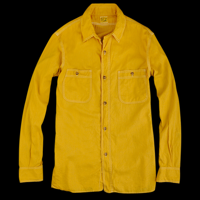 Orslow_Chambray_Shirt_Yellow