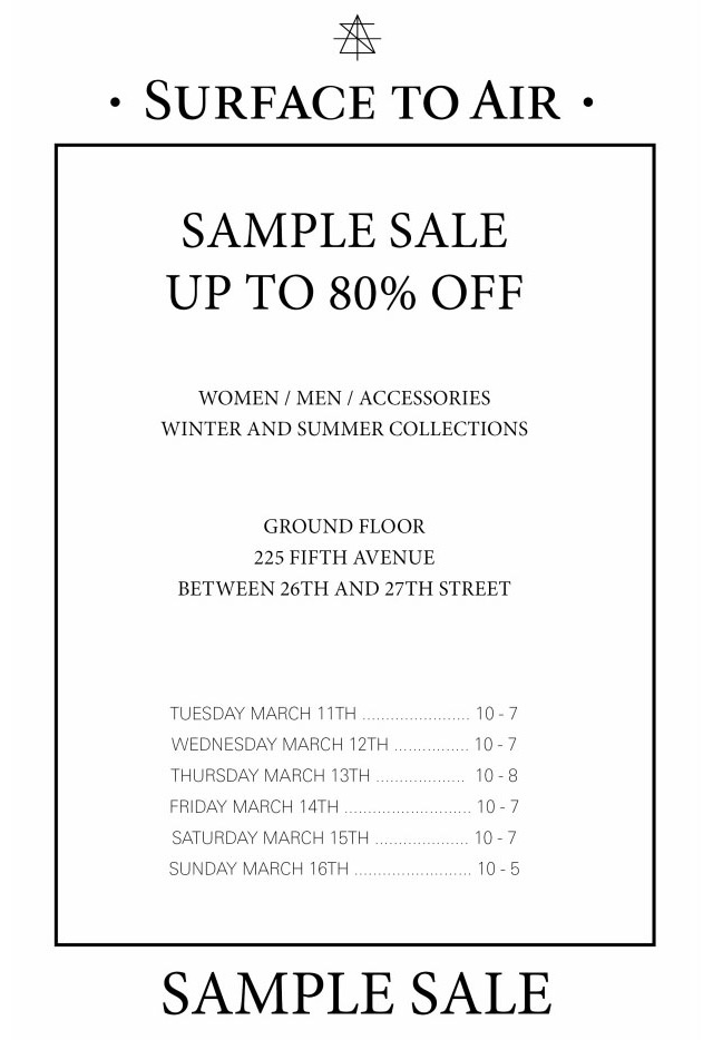 Surface To Air 260SampleSale