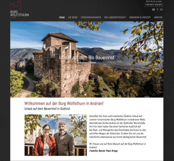 Burg Wolfsthurn Webdesign haberer media Südtirol