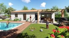 Villa provençale de plain-pied avec tonnelle bois