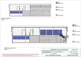 Mise en plan d'un bâtiment industriel pour agrandissement coupe longitudinale