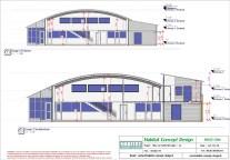 Mise en plan d'un bâtiment industriel pour agrandissement coupe transversale