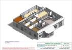Mise en plan d'un bâtiment industriel pour agrandissement coupe 3D bureaux