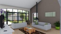 Salon avec cheminée moderne sur Sainte-Maxime
