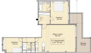 Appart 2 chambres à louer dans immeuble à projets collectifs
