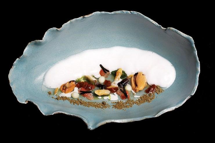 "Chef José Avillez's dish – Wave Breaking (bivalves, coast prawn, ""seawater"") Image: Paulo Barata GFP 2012"