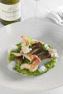 Terroir - Line fish, Herb risotto, root vegetables , langoustine, salt and vinegar foam