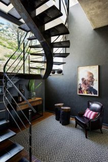 The spiral staircase, built on site, is both sculptural and functional.