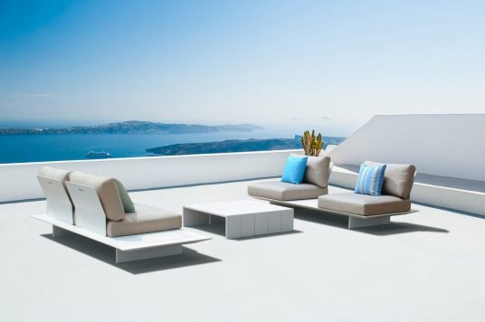 White architecture on Santorini island, Greece. Beautiful summer landscape with sea view