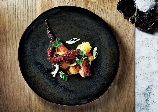 Marble - Food - Blackened octopus, crushed paprika potato, candied lemon, squid in dressing