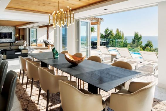Casual al fresco lifestyle was part of the client brief and has been supremely catered for here. Key interior pieces are by OKHA – the kitchen by Eurocasa features a WOMAG granite work surface. All oak ceilings, walls and floors throughout the interior were custom supplied by Oggie Flooring.