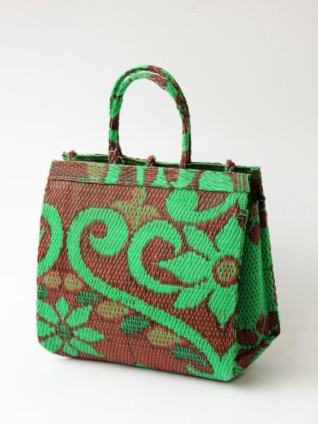 Green plastic shopper from the Mossi tribe in Burkina Faso.