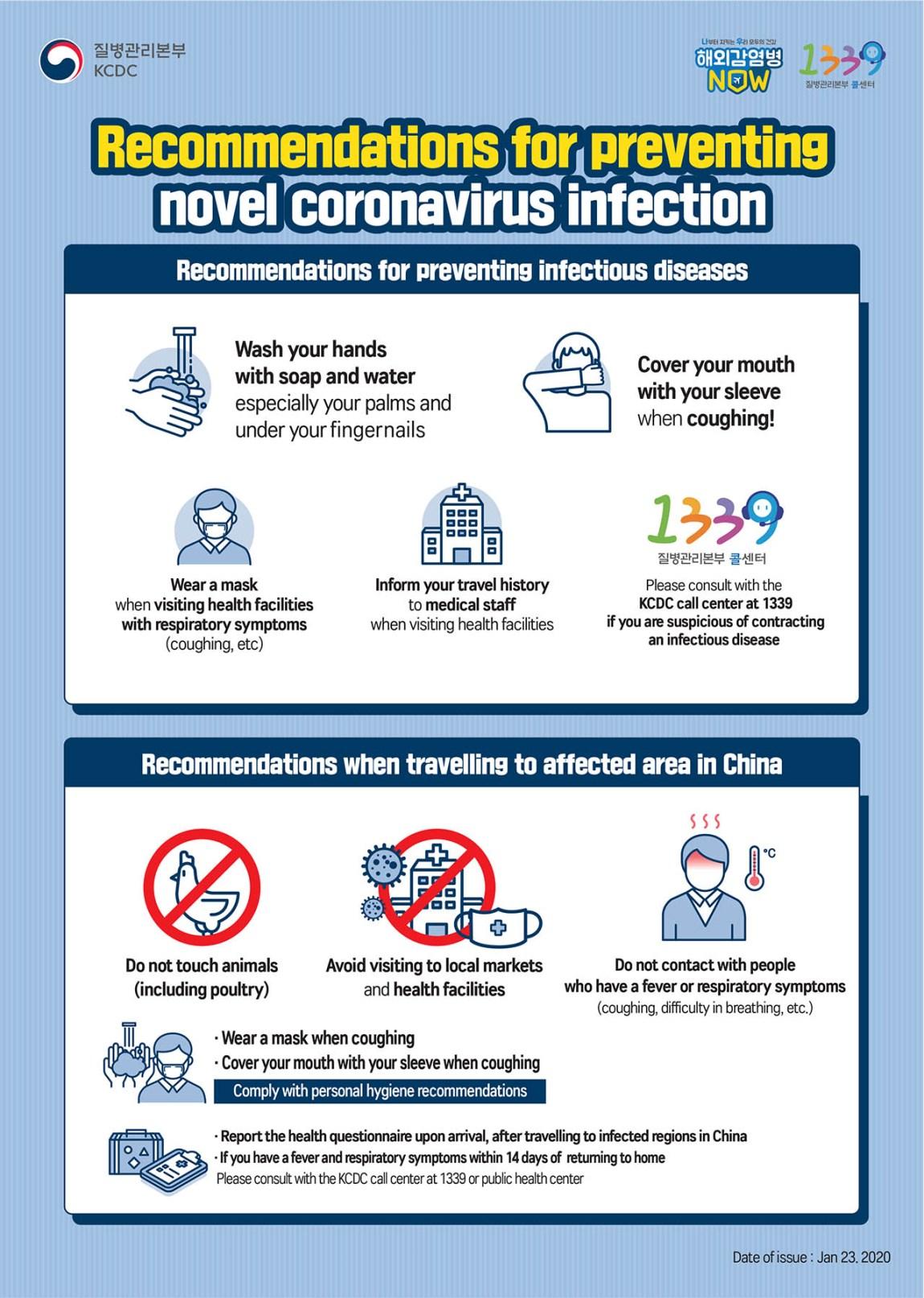 Korea Travel Advice in relation to the novel coronavirus 2019-nCoV