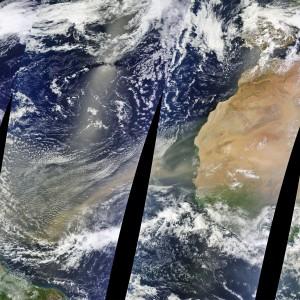 Una advección de polvo cruza el Atlántico. Imáginaos a las grandes distancias a las que las partículas pueden ser transportadas por la atmósfera.