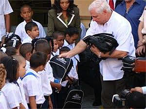 Children in primary school have started to receive free backpacks and school supplies at the beginning of each school year.