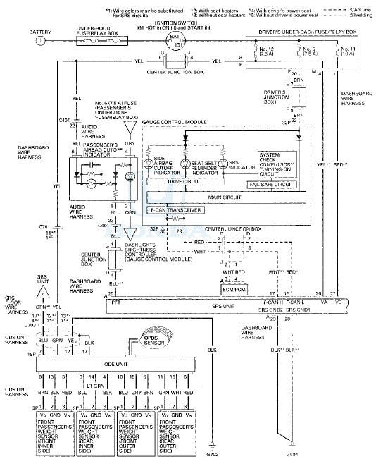 honda accord circuit diagram  srs supplemental restraint