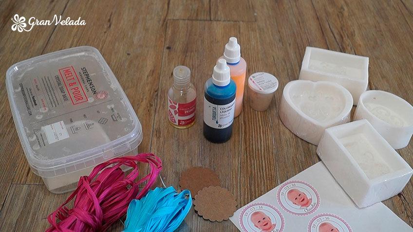 Materiales para hacer jabones para bautizo