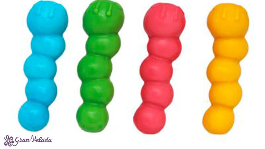 Jabon de colores con forma de gusanos