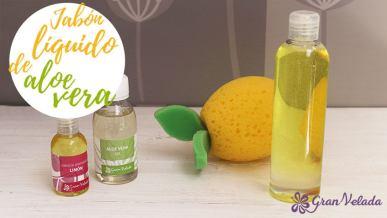 Hacer jabon liquido de aloe vera y aroma a limon en casa con vídeo y tutroial.