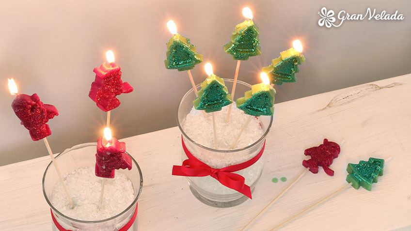 Velas de Navidad en palito