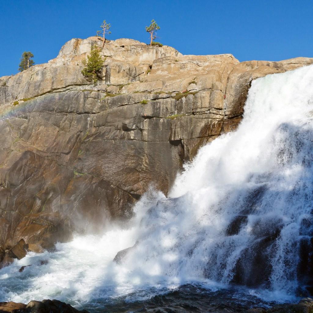 water splashing down rocky landscape