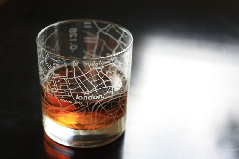 rocks glasses with etched london map