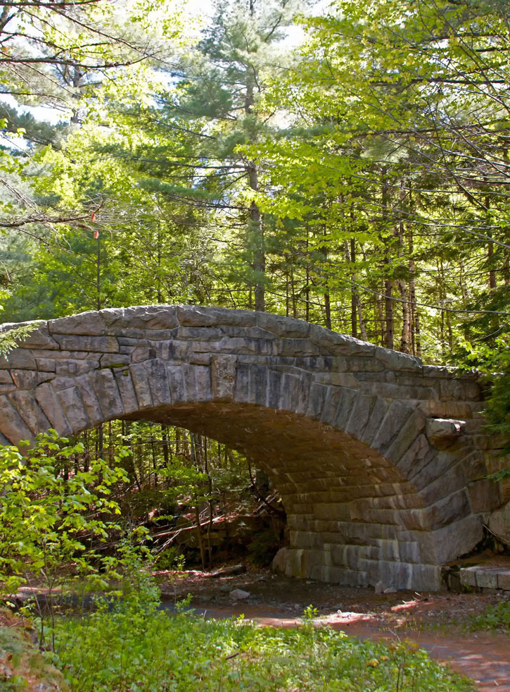 A stone carriage bridge in Acadia National Park