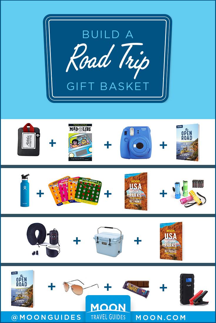 road trip gift basket pinterest graphic